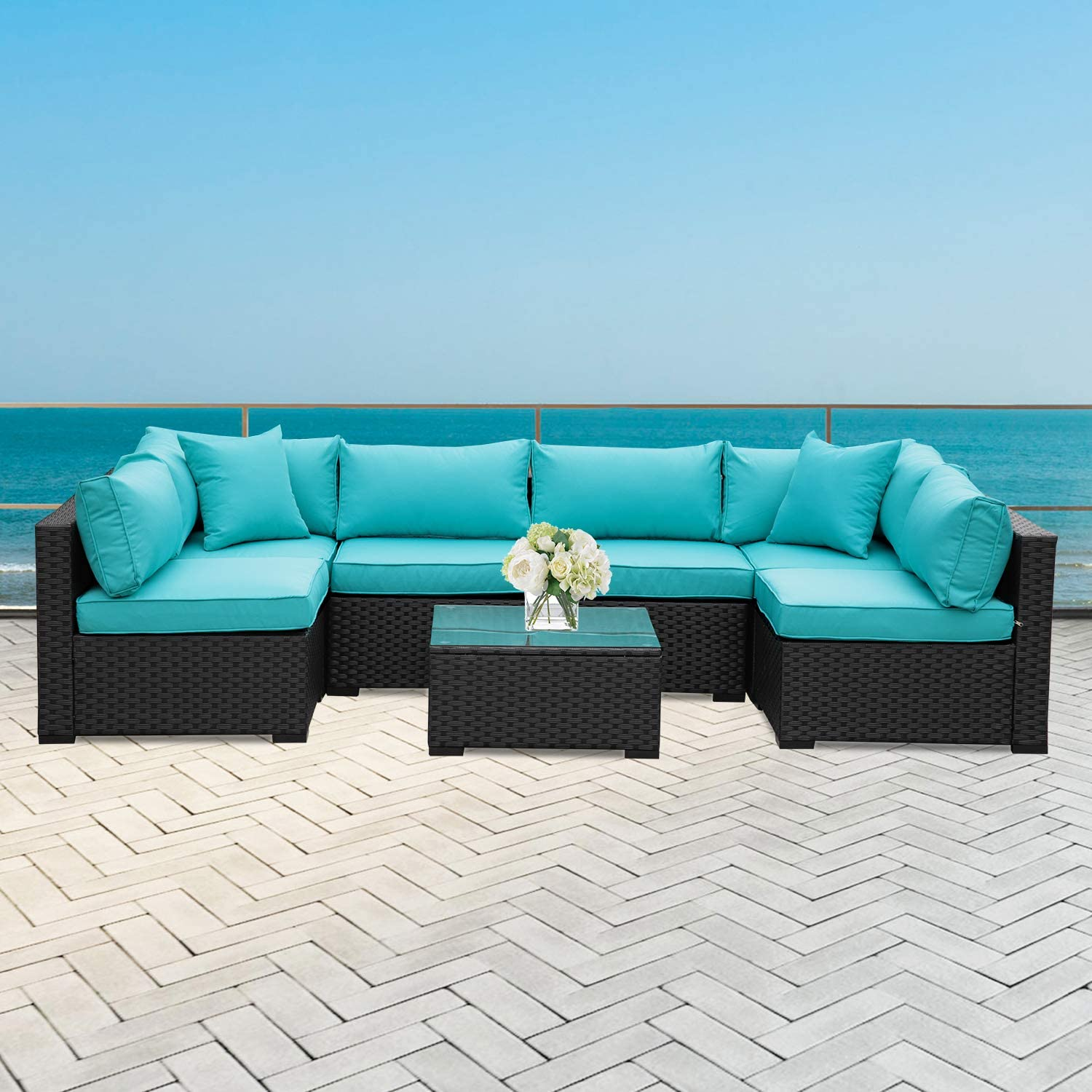 7 Piece Outdoor PE Wicker Furniture Set, Patio Black Rattan Sectional Sofa Couch with Washable Turquoise Cushions