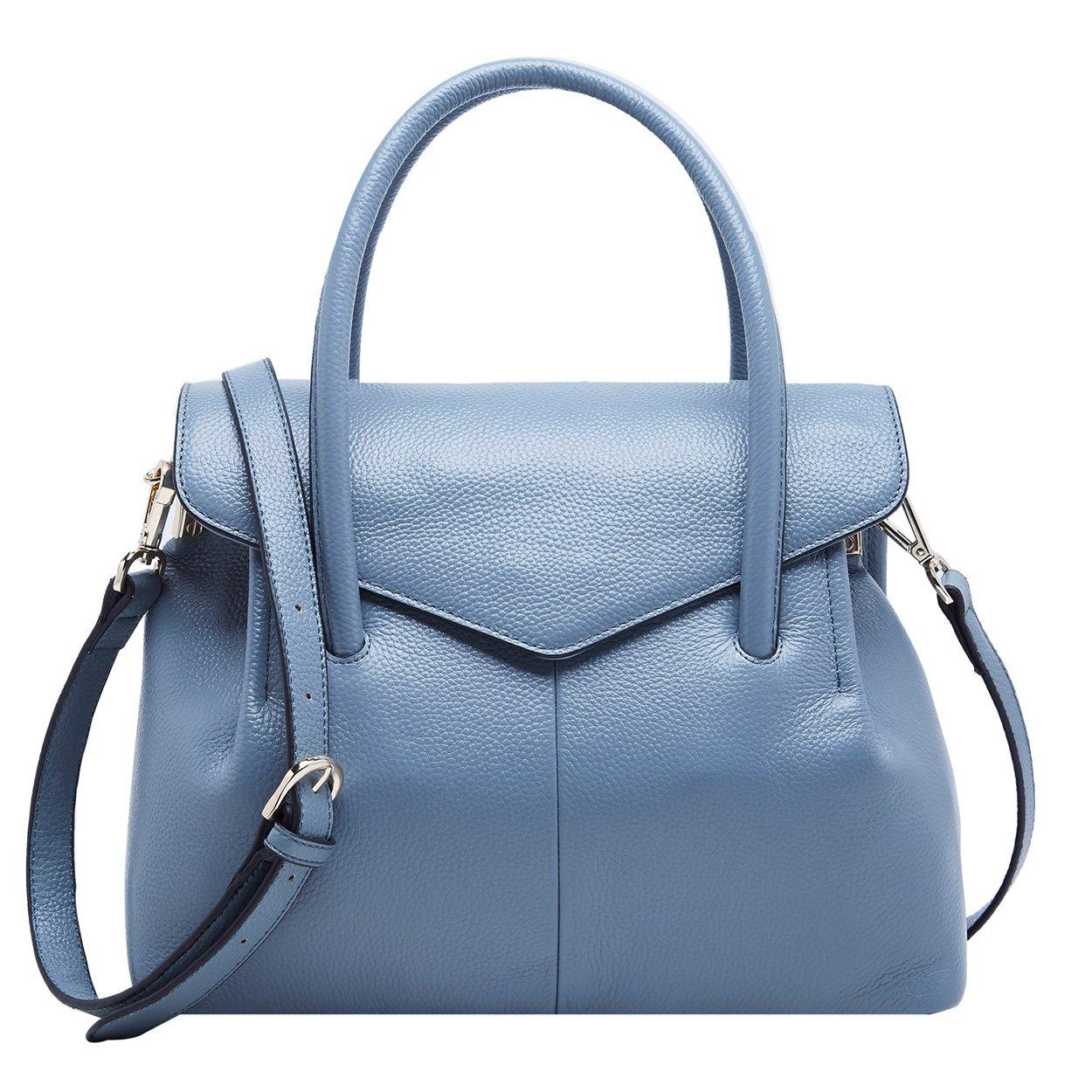 BOYATUレディース本革ハンドバッグ メッセンジャーバッグ ショルダーバッグ 手提げ/斜めがけ ビジネス/通学/通勤 ブラック鞄 女性用 B0711Z7B4J ブルー ブルー