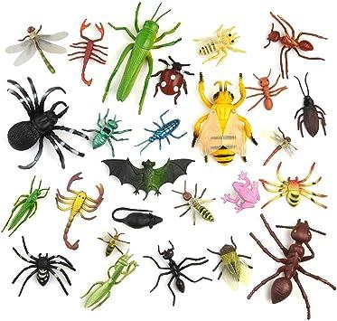 TUPARKA 27 Pcs Insectos de Plástico Insectos Niños , Lagarto de Abeja Juguetes para niños Fiesta Escolar de Halloween Juguetes educativos, Estilo Aleatorio: Amazon.es: Juguetes y juegos