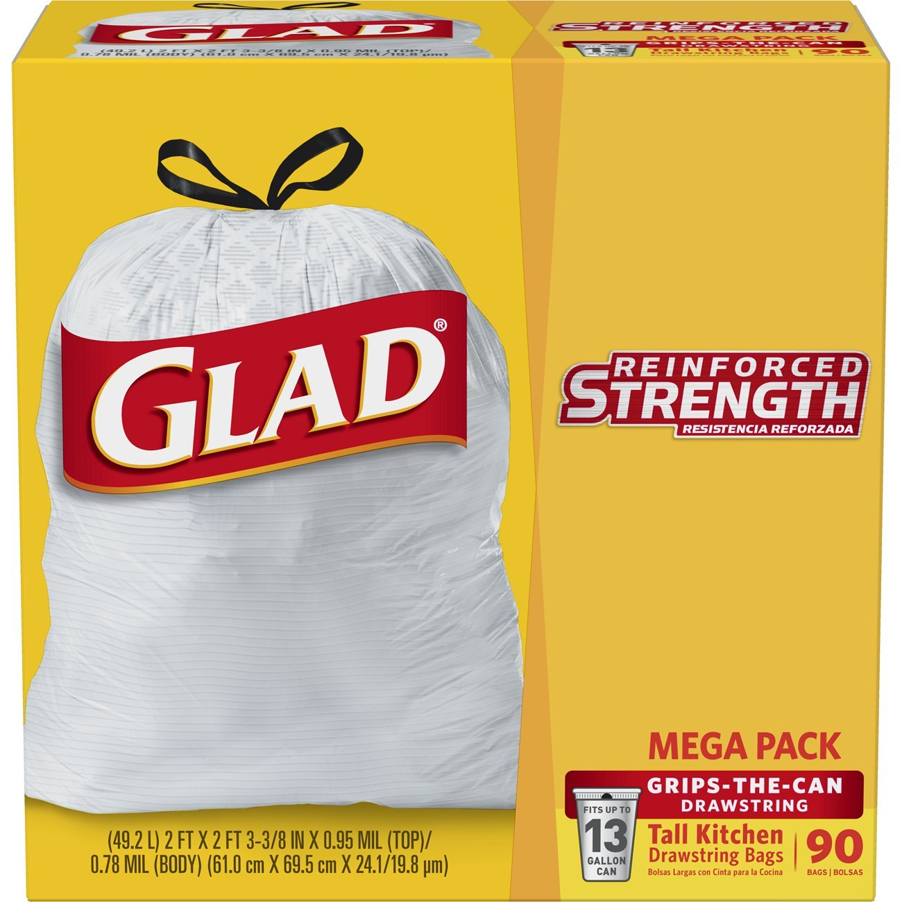 Glad Tall Kitchen Drawstring Trash Bag - 13 Gallon - 90 Count - Packaging May Vary