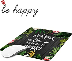 Gaming Mouse Pad, Watercolor Retro Flowers Mouse Pads for Laptop Non-Slip Rubber Base Mousepad Computers and Office, Rectangle Cute Mouse Mats and Be Happy Computer Stickers
