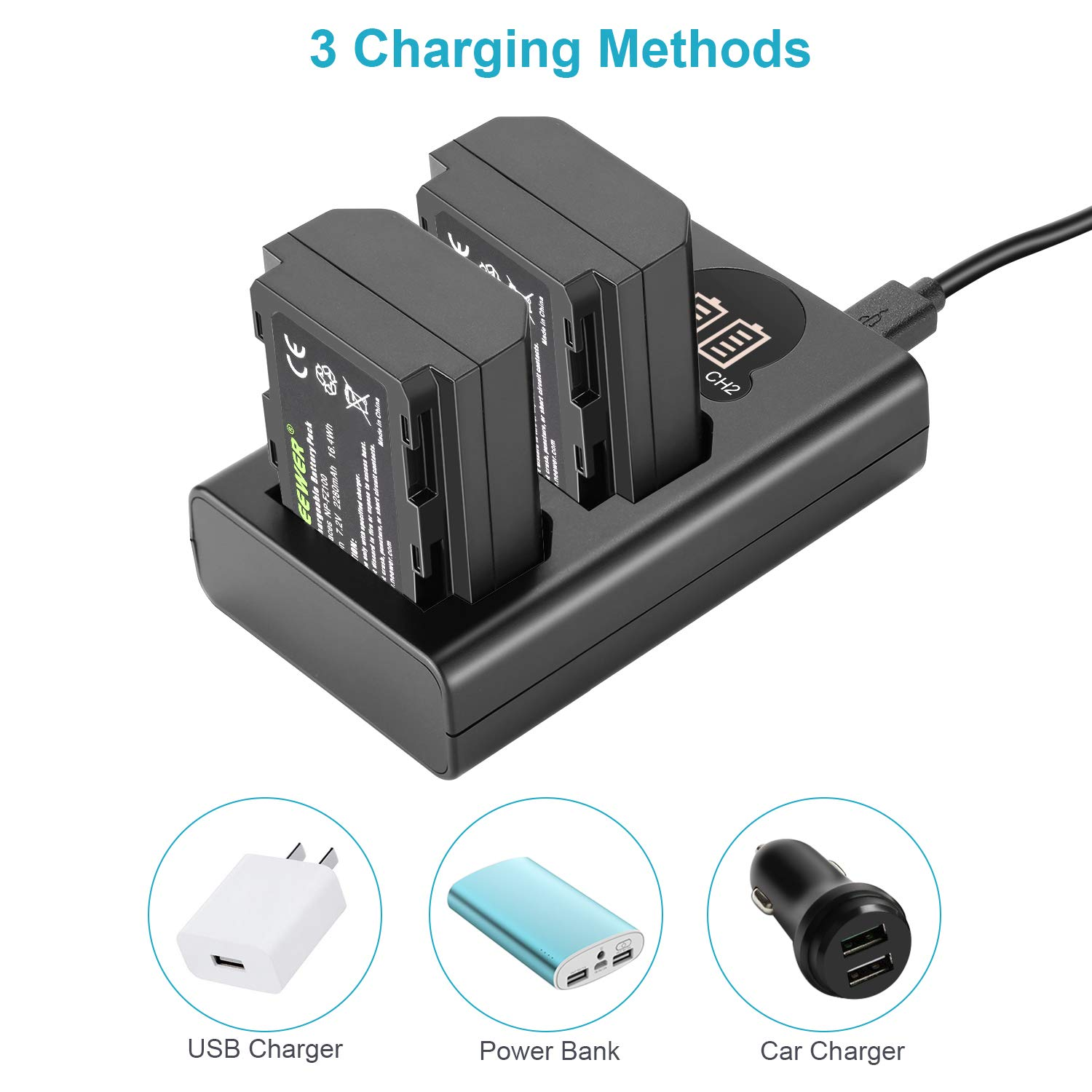 Dual USB Battery Charger with LCD Display Compatible with Sony A9 A7III A7RIII Cameras Neewer NP-FZ100 Replacement Battery Charger Set 2-Pack 7.2V 2280mAh Battery, Versatile Charging Option