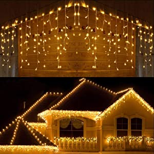 LED Icicle Lights,300 LED 19.6Ft 8 Modes with 60 Drops,Icicle Christmas Lights with Timer,Waterproof Connectable Outdoor String Lights for Holiday,Christmas,Wedding Decorations (Warm White)