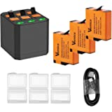 Vemico GoPro Battery Hero 7/6/5 1500mah Replacement Batteries (3 Pack) and 3-Channel LED Type C USB Charger for…