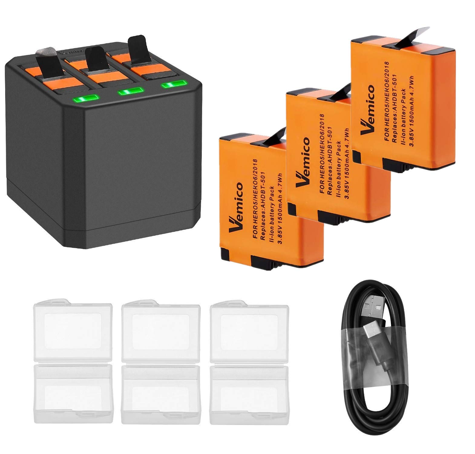 Vemico GoPro Battery Hero 8/7/6 1500mah Replacement Batteries (3 Pack) and 3-Channel LED Type C USB Charger for GoPro Hero 8 Black,Hero 7 Black,Hero 6,Hero 5,AHDBT-501(Fully Compatible with Original) by Vemico