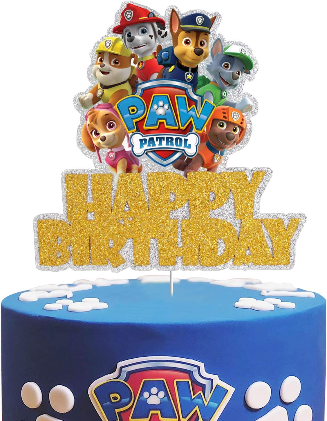 Dog Paw Patrol Happy Birrthday Cake Topper - Claw Dog Patrol Party Cake Decor,Children's Birthday Baby Shower Party Supplies