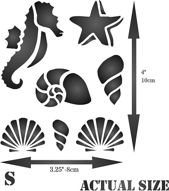 para /álbumes de recortes y libros Plantilla de pared con dise/ño de concha de mar de mar de estilo n/áutico