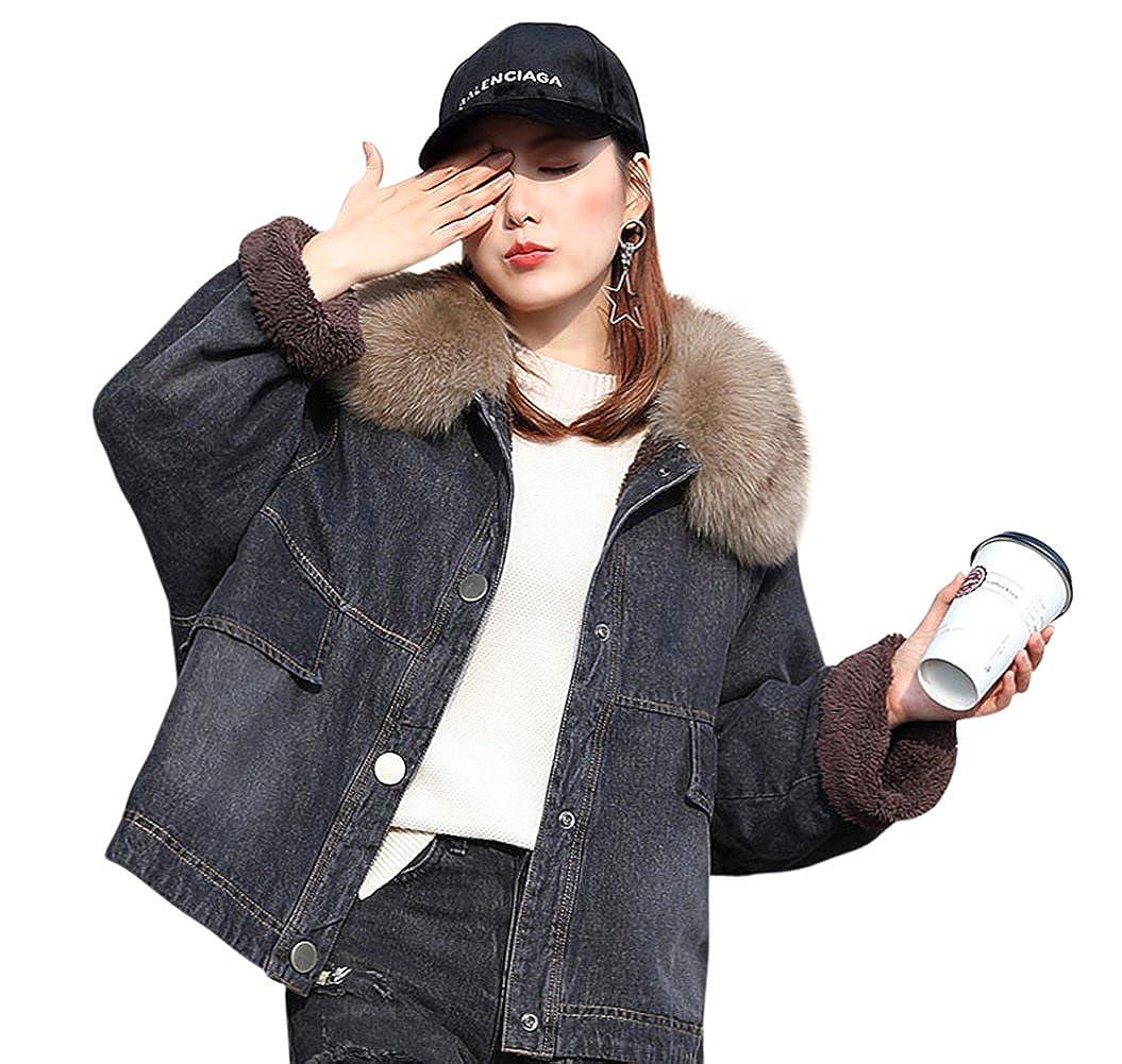 6ba8c03ce973 Tortor 1Bacha Women s Faux Fur Collar Winter Colored Denim Jacket Fleece  Lined at Amazon Women s Coats Shop