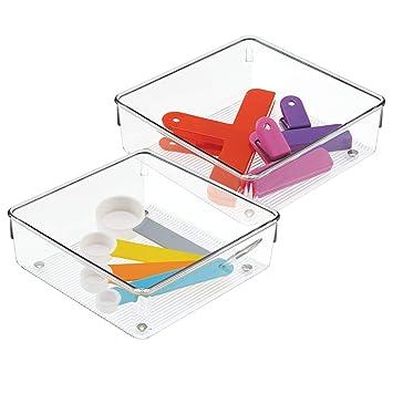 pas mal 70e01 86fc1 InterDesign Linus boite stockage pour tiroir, moyenne boite de classement  pour accessoires, bac rangement plastique en lot de 2, transparent