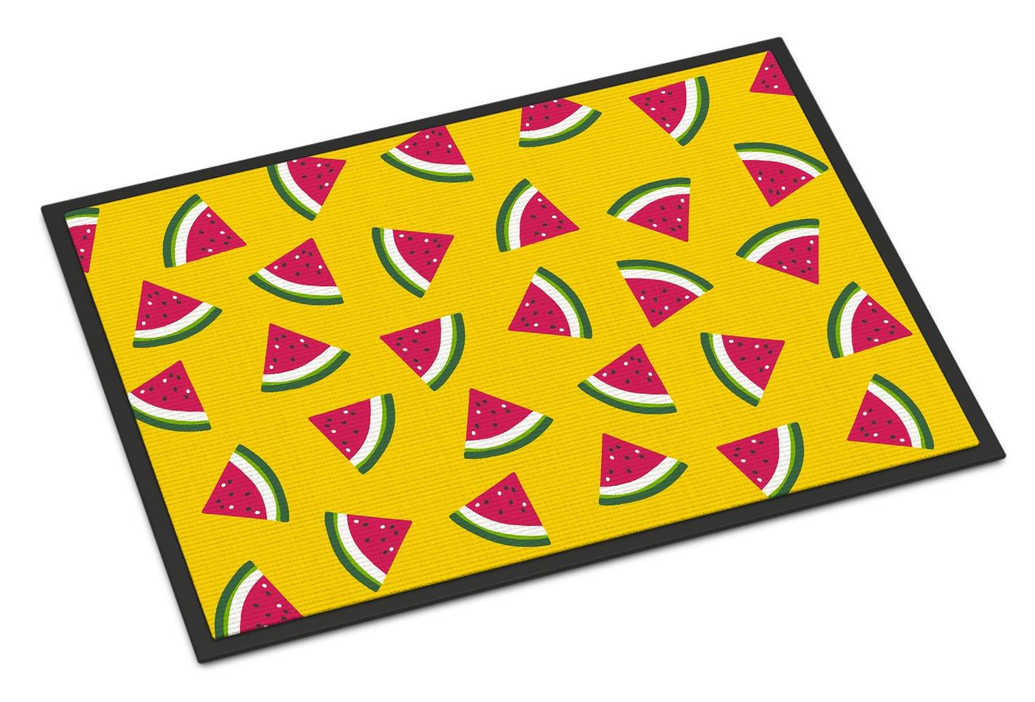 Carolines Treasures Fruits and Vegetables in Yellow Doormat 24 H x 36 W Multicolor