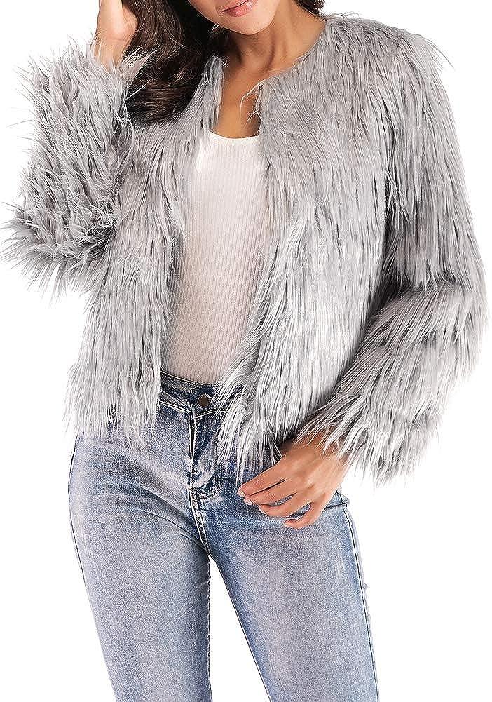 Anself Women Faux Fur Jacket Coat Solid Color Long Sleeve Fluffy Outerwear Short Jacket Hairy Warm Overcoat
