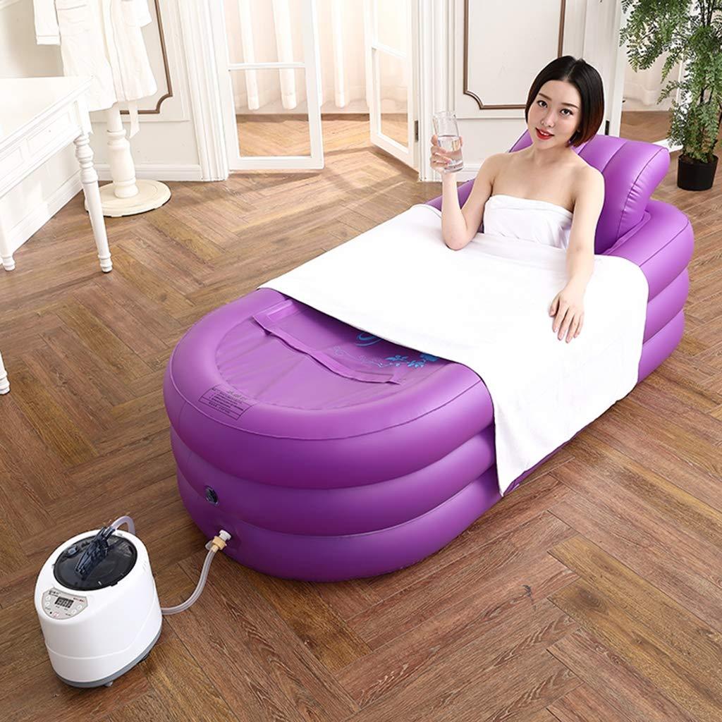 汗蒸し器、家庭用蒸し器、全身燻蒸用バケツ、大人用デトックススチームサウナ、バス、浴槽(ブルー、ピンク、パープル),Purple B07S9VQPQZ Purple