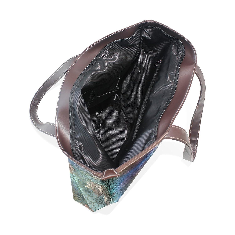 Womens Leather Tote Bag,Abstract Graffiti Fantasy Crack Texture,Large Handbag