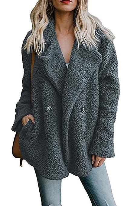 Oudan Abrigos de Piel sintética mullidos para Mujer Invierno Casual Tallas Grandes Ropa de Abrigo (