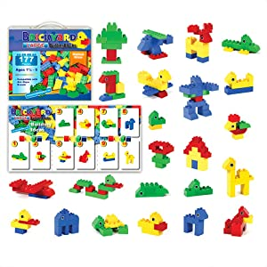 Brickyard Building Blocks 177 Pieces Large Building Block Toys for Children Ages 1.5 - 5, Bulk Block Set, Compatible with Duplo (177 pcs)