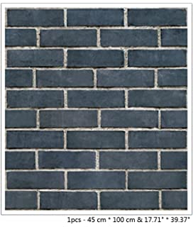 BIBITIME 1771 X 3937 3D Navy Brick Wall Background PVC Wallpaper Vinyl Decal Sticker