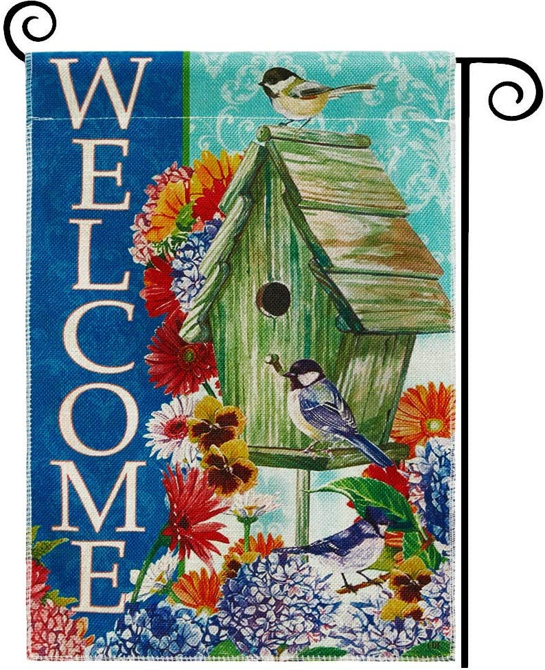 DOLOPL Welcome Garden Flag 12.5x18 Inch Double Sided Decorative Verticle Flowers Birdhouse Seasonal Yard House Flag for Spring Summer Outdoor Indoor Decoration