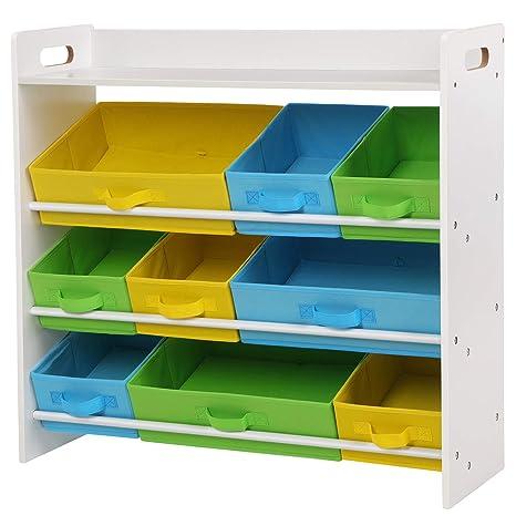 SONGMICS Kinderzimmerregal, Spielzeug-Organizer mit 9 herausnehmbaren Vlieskörben, Spielzeug- und Bücherregal fürs Kinderzimm