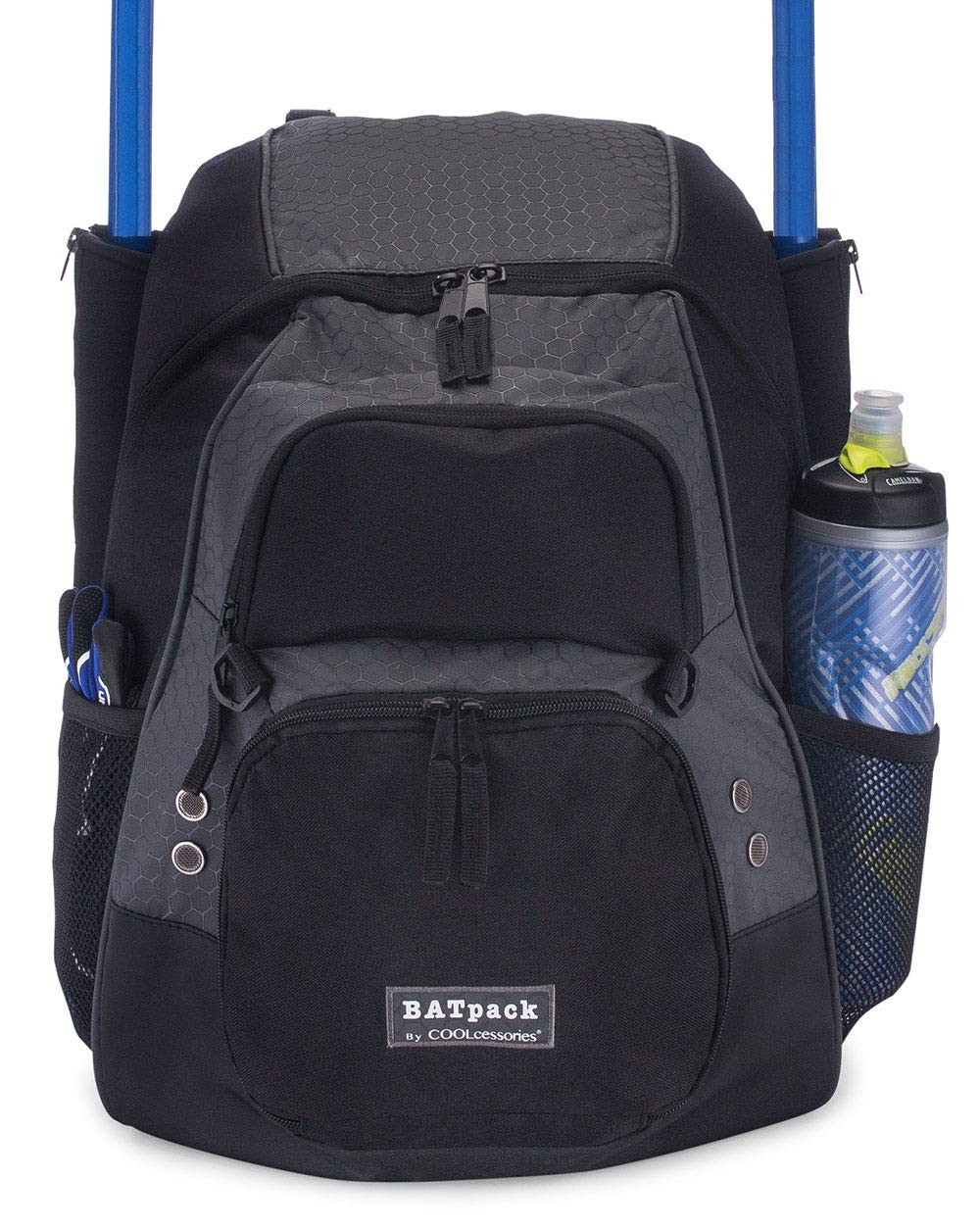 COOLcessories Bat Bag Backpack - A Bat Bag That Fits All Your Gear - Use as a Baseball Bag or Softball Bag - Includes a 3 Position External Cargo Net