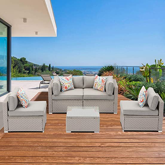 SUNBURY Outdoor Sectional Wicker Sofa 5-Piece