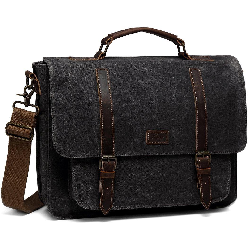 Messenger Bag for Men, Kasqo Waxed Canvas Leather 15.6 inch Briefcase Shoulder Bag for Men Business Satchel with Removable Strap 333HEISKA