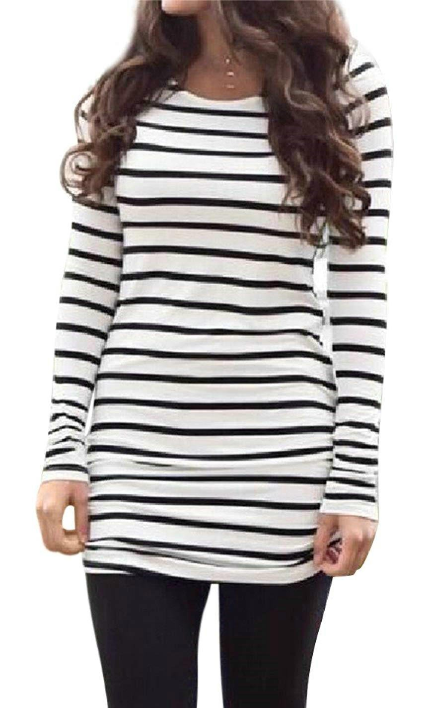 Women's Women's Black and White Striped Shirt Dress Long Sleeves Casual Tee Blouse Tops (M, White2)