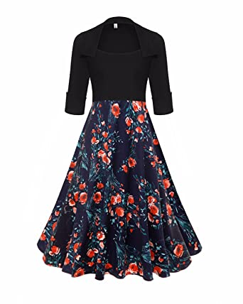 GIKING Womens Vintage 1950s Floral A-line Pleated Swing Cocktail Party Dresses (OrangeRed)