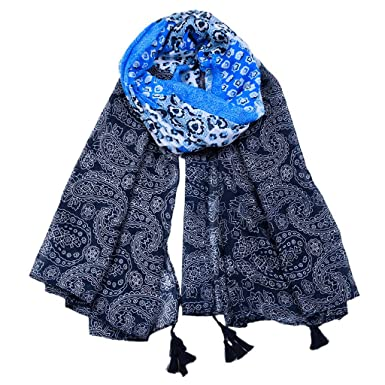 Ladies Scarf Shawl Wrap Pashmina SKULL Print BRAND NEW Large Pale Blue Tassel