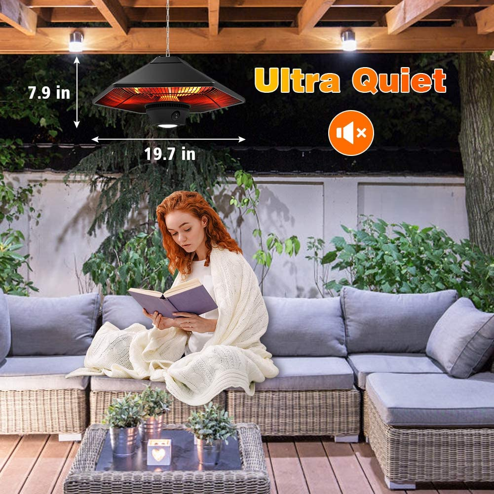 Super Quiet Hanging Electric Heater with 3 Power Modes Fast Heating for Gazebo Balcony Porch and Restaurant Black Electric Patio Heater Outdoor Ceiling Mounted Heater 1500W with Remote Control and LED Lamp