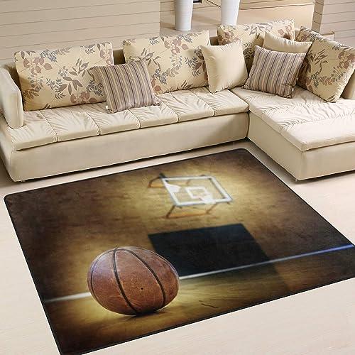 ALAZA Ball on Basketball Court Area Rug Rug