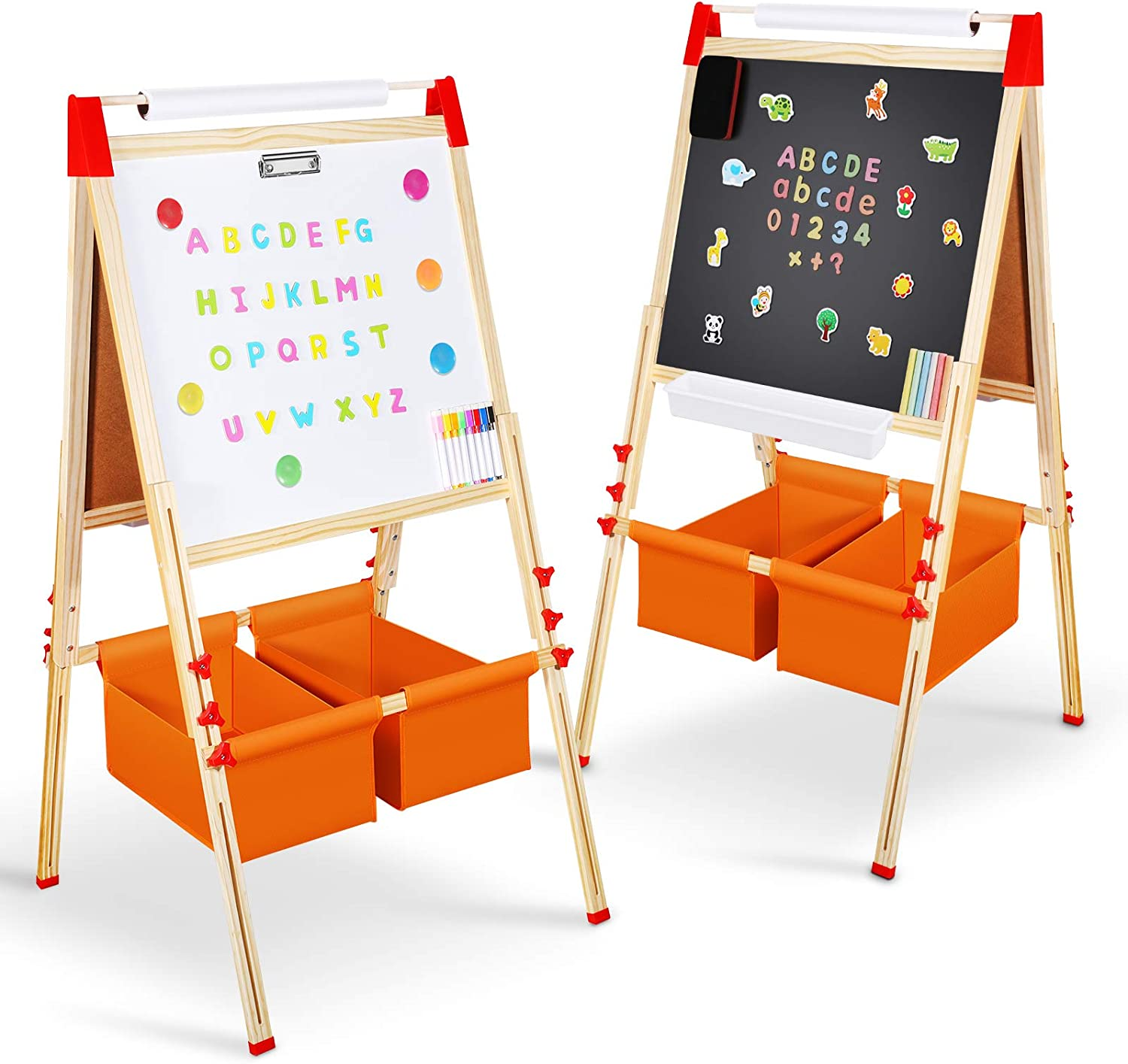 Amazon Com Magicfun Kids Art Easel Wooden Double Sided Black White Painting Board Height Adjustable Magnetic Board With Complete Accessories Chalks For Gifts Toddlers 2 7 Year Old Home Kitchen