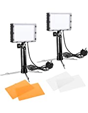 Photography 60 LED Lamp Continuous Light 5500K Portable Studio Photo Lighting Kit for Photo Studio Video, Table Top Light, Pack of 2 with Color Filters