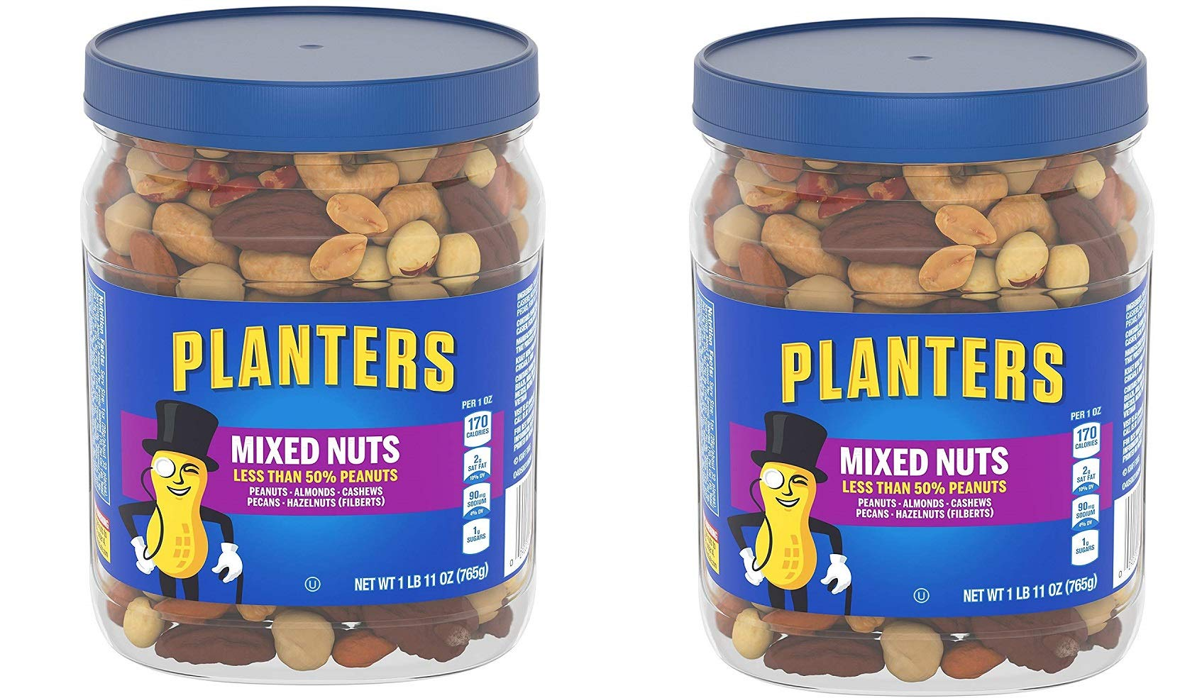 Planters Mixed Nuts, Regular Mixed Nuts, 2 Tubs
