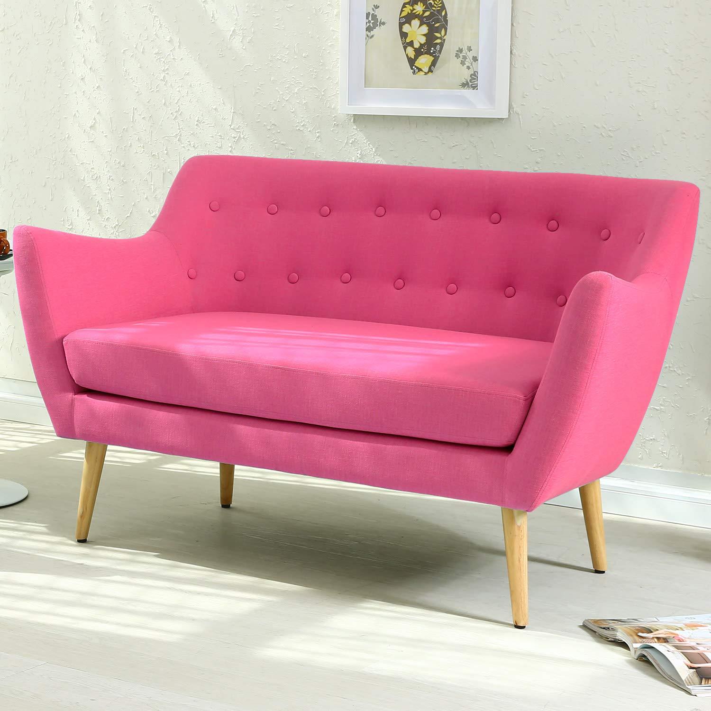 Menzzo escandinava Molly sofá con 2 plazas Tela Rosa 73 x ...