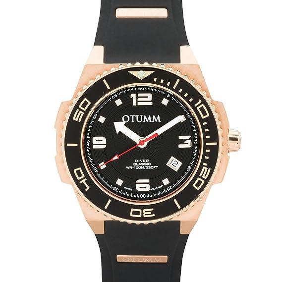 Otumm Diver Oro Rosa 45mm Color 02 Negro DIRG45-002 Unisex Diver Reloj: Amazon.es: Relojes