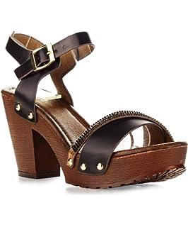 fe0db38a994 Women s Chunky Platform Clog Heeled Sandal Two Tone Rhinestone Sling Back  Stud Decor Open Toe Summer