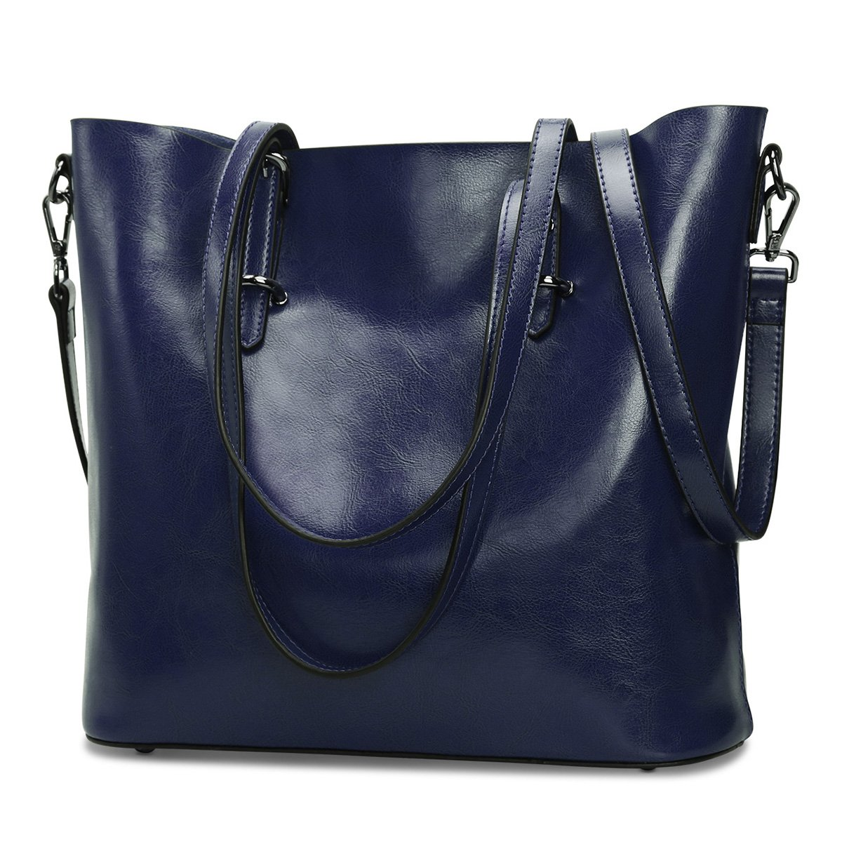 S-ZONE Women Leather Top Handle Handbag Cross Body Shoulder Bag Messenger Tote Bag Purse (Blue)