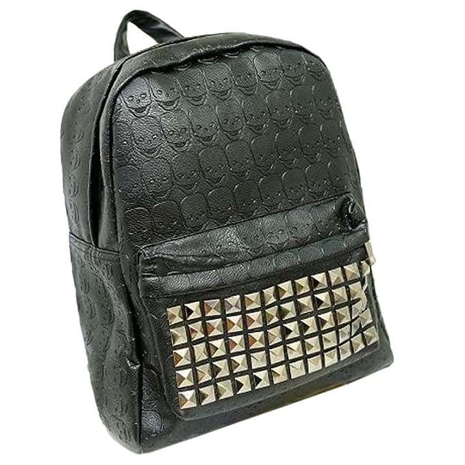 Win8Fong diseño de calavera Unisex Funda de piel sintética con tachuelas mochila Rock Fashion diseño gótico Emo Punk marrón: Amazon.es: Ropa y accesorios