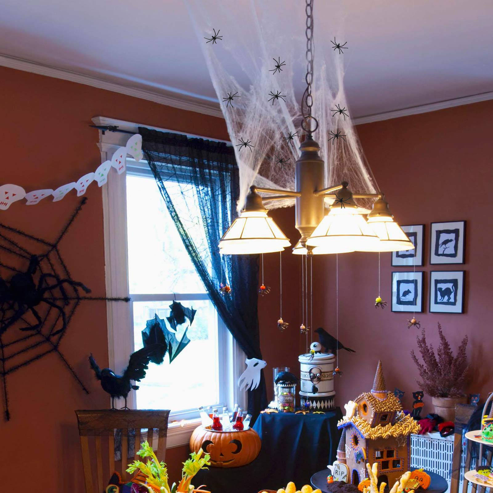 KATOOM 2pcs Halloween Spiderweb Cobweb Fireplace Decoration Black & White Spider web Lace Tablecloth with 30pcs Fake Spiders for Horror Themed Party Haunted House Window