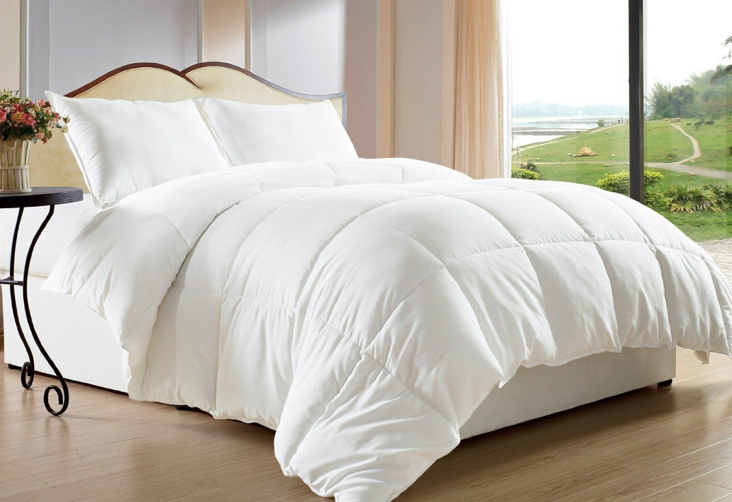 Twin Size Comforter Goose Down Duvet – White, Hypoallergenic Alternative, Box Stitched, Protects Against Dust Mites And Allergens, Washable, By Clara Clark
