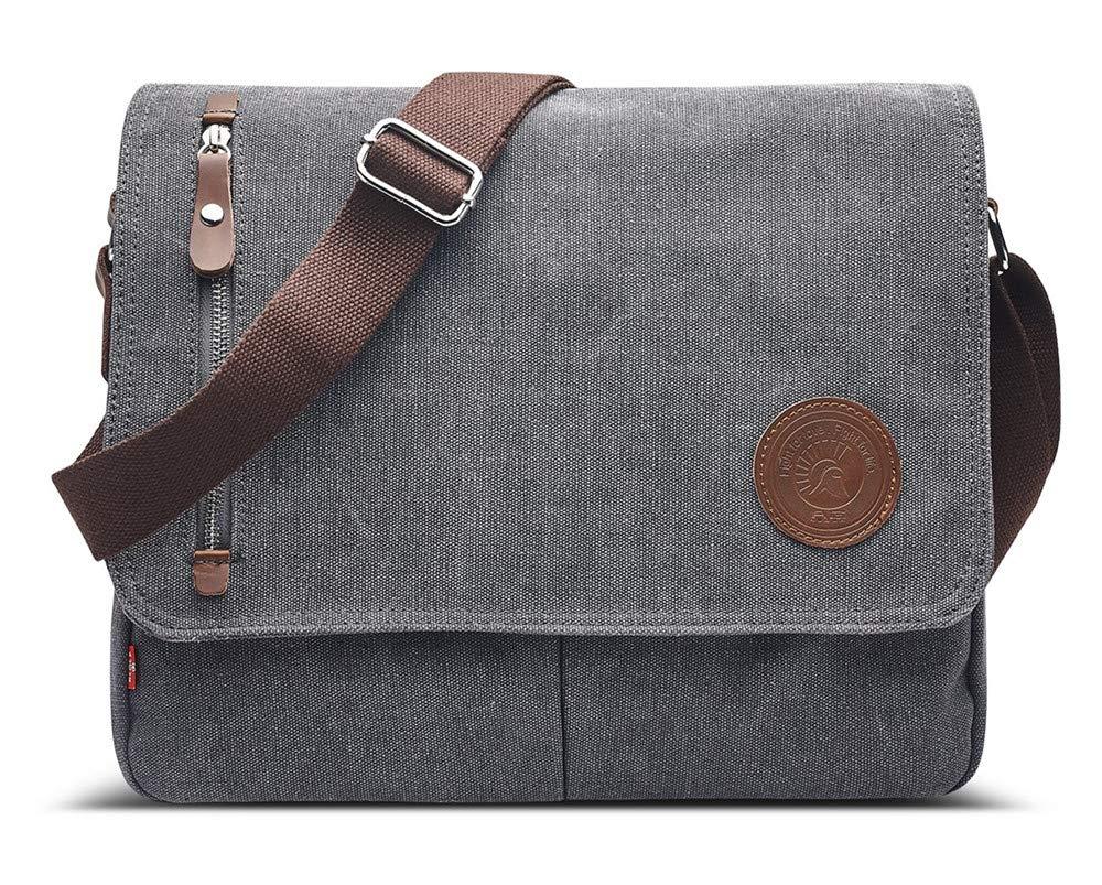 MOLLYGAN Men s Casual Canvas Schoolbag Crossbody Shoulder Messenger Bag Light Grey