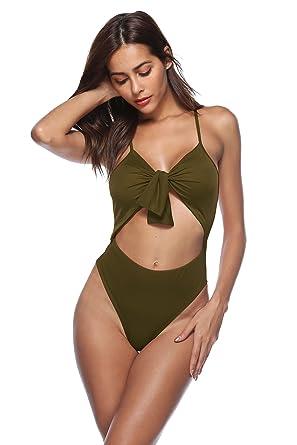 df7b10f9065d7 EnlaChic Women Sexy Tie Knot Cut Out One Piece Monokini Swimswear Swimsuit  Beachwear Bathing Suit,