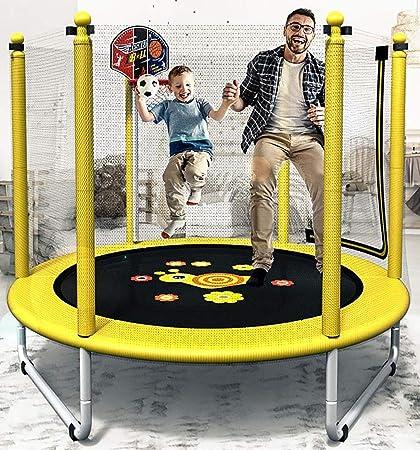 HYYQG Trampolines para niños Interior, trampolin Cama Elastica Interior/Exterior Jardín Adultos Niños Hoja de Salto, Red de Seguridad, Postes de Red Acolchada, Yellow: Amazon.es: Deportes y aire libre