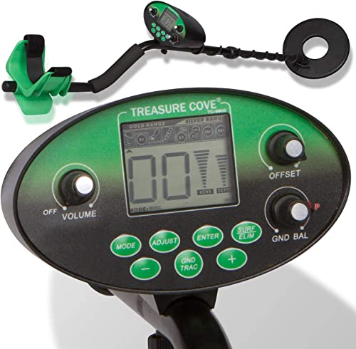 Treasure Cove TC-9800 Detector Professional Kit, LCD Digital Display, Targets Specific Metals, Waterproof Coil, Accessories Bag Scoop Headphones, Adjustable Height, Ultra High Accuracy