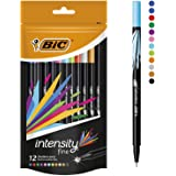 BIC Intensity Fineliner Felt Tip Pen Fine Point (0.8 mm) - Assorted Colours, Pack of 12 Fineliner Pens