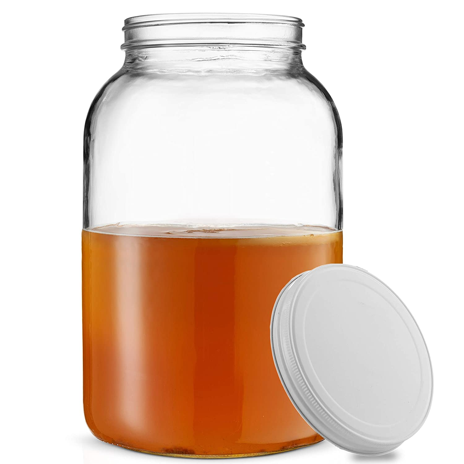Paksh Novelty 1-Gallon Glass Jar Wide Mouth with Airtight Metal Lid - USDA Approved BPA-Free Dishwasher Safe Mason Jar for Fermenting, Kombucha, Kefir, Storing and Canning Uses, Clear