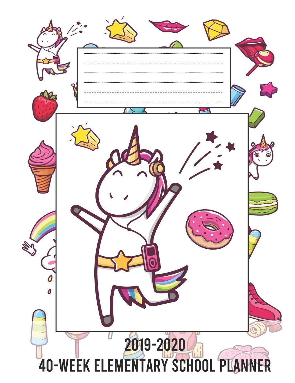 2019-2020 40-Week Elementary School Planner: Pop Art Unicorn ...