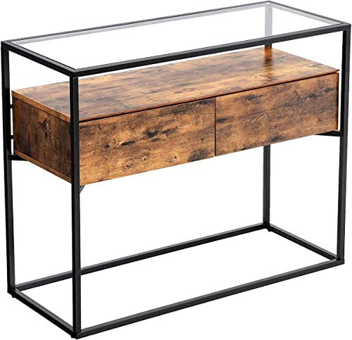 VASAGLE GLATAL Console Table, Sideboard, Tempered Glass Table with 2 Drawers and Storage Shelf, in Hallway Lounge, Stable Steel Frame, Industrial, Rustic Brown and Black ULNT11BXV1