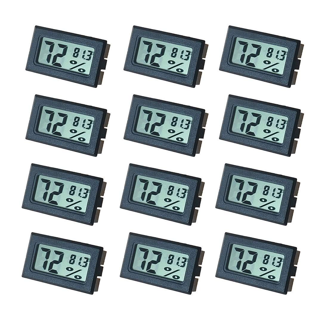 Newlight66 Humidity Gauge, Digital Hygrometer Indoor Outdoor Hygrometer Thermometer (°F) for Humidors Home Car Greenhouse(12 Pack