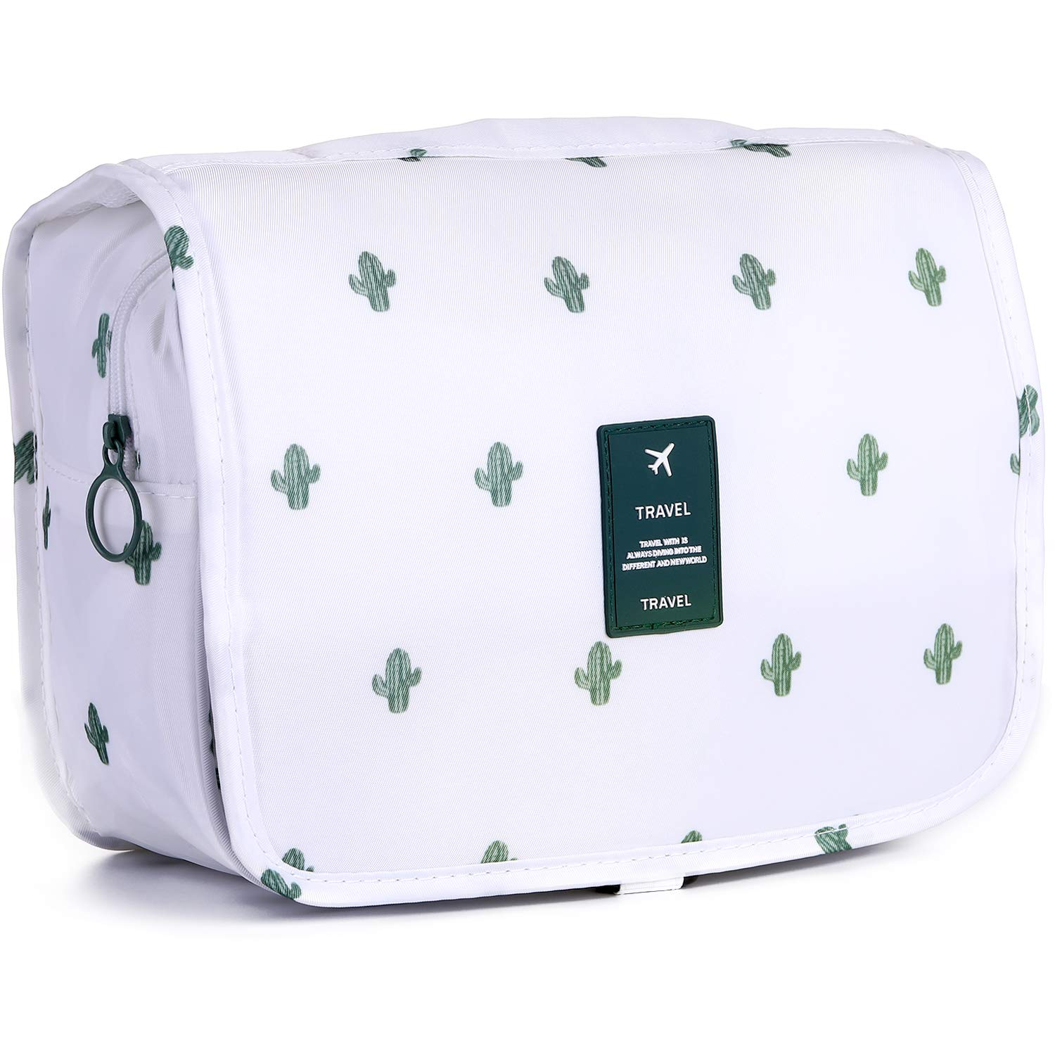 Toiletry Bag Multifunction Cosmetic Bag Waterproof Travel Makeup Pouch (Cactus&White)
